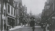 Tram in Vicar Street, looking south